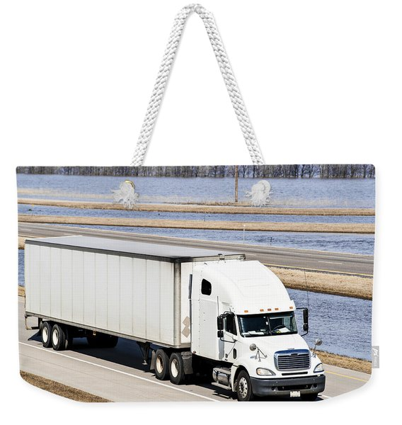 Semi-truck And Flood Water Weekender Tote Bag