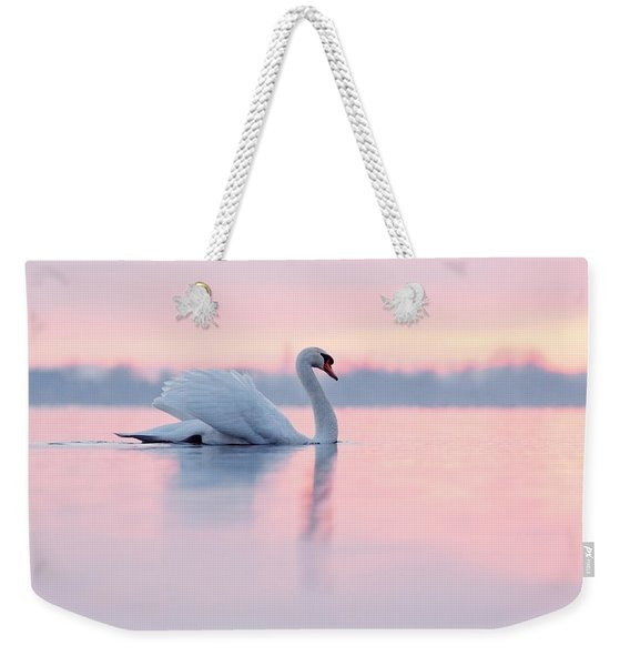 Serenity   Mute Swan At Sunset Weekender Tote Bag