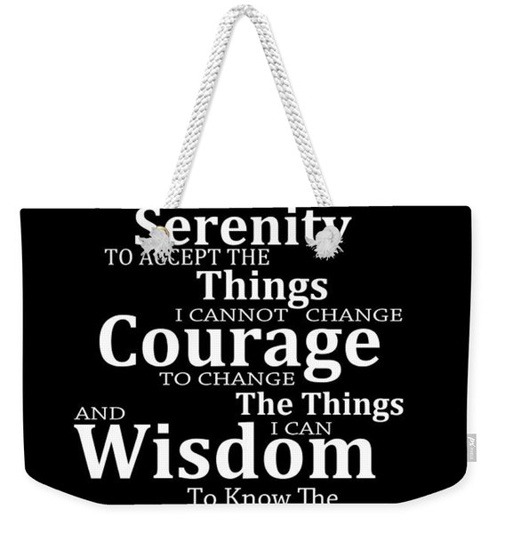 Serenity Prayer 5 - Simple Black And White Weekender Tote Bag