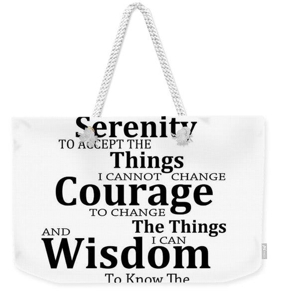 Serenity Prayer 6 - Simple Black And White Weekender Tote Bag