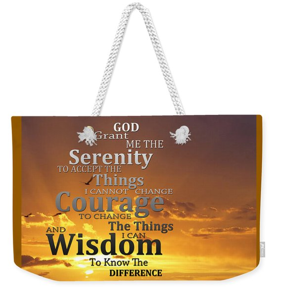 Serenity Prayer With Sunset By Sharon Cummings Weekender Tote Bag