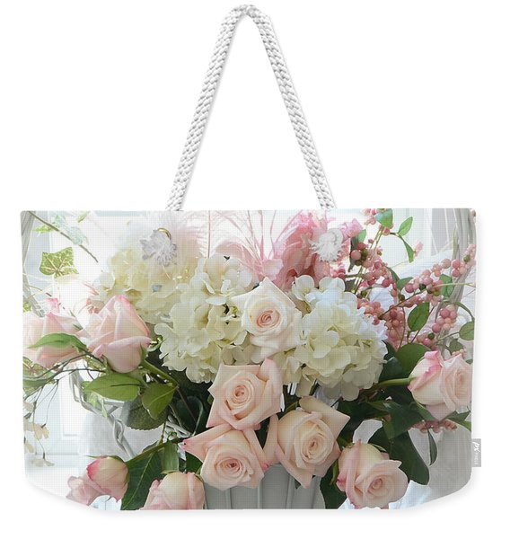 Shabby Chic Basket Of White Hydrangeas - Pink Roses - Dreamy Shabby Chic Floral Basket Of Roses Weekender Tote Bag
