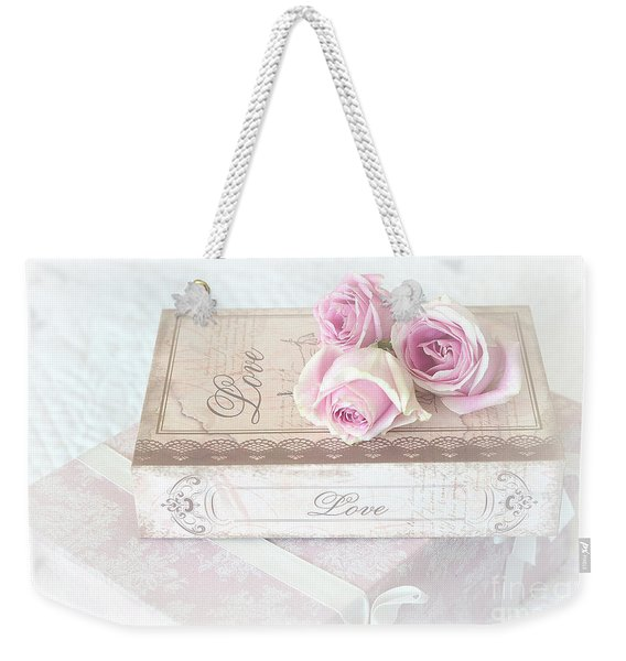 Shabby Chic Cottage Pink Roses Love Wall Print - Romantic Love Roses Wall Decor Weekender Tote Bag