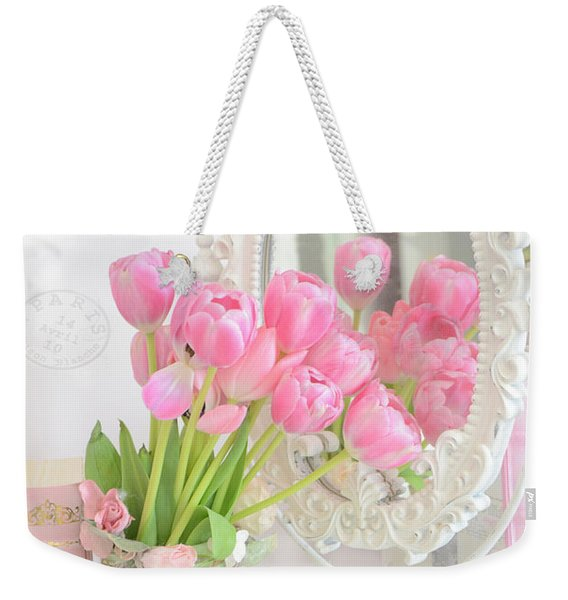 Shabby Chic Tulips Reflection In Mirror - Dreamy Romantic Cottage Pink Tulips Floral Art Weekender Tote Bag
