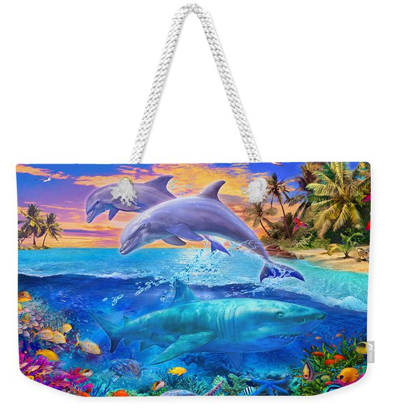 Shark And Dolphin Paradise Weekender Tote Bag