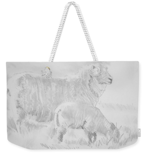 Sheep Lamb Pencil Drawing Weekender Tote Bag