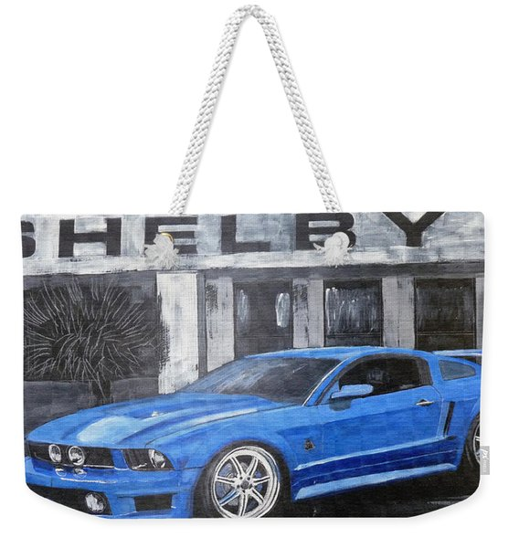 Weekender Tote Bag featuring the painting Shelby Mustang by Richard Le Page