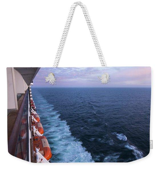 Ship Boats Sea Horizon Weekender Tote Bag