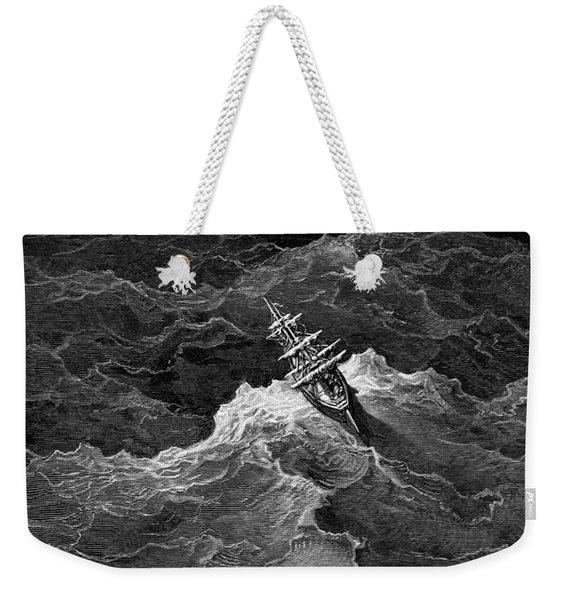 Ship In Stormy Sea Weekender Tote Bag