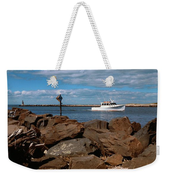 Ship Moving In Sea, Montauk Point Weekender Tote Bag