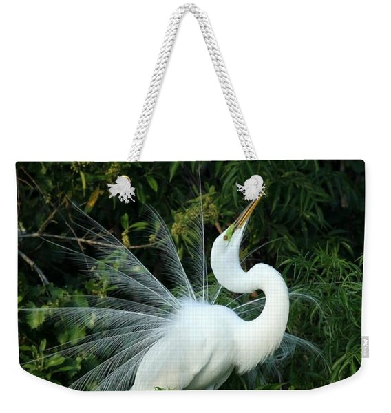 Showy Great White Egret Weekender Tote Bag