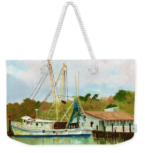 Shrimp Boat At Dock Weekender Tote Bag