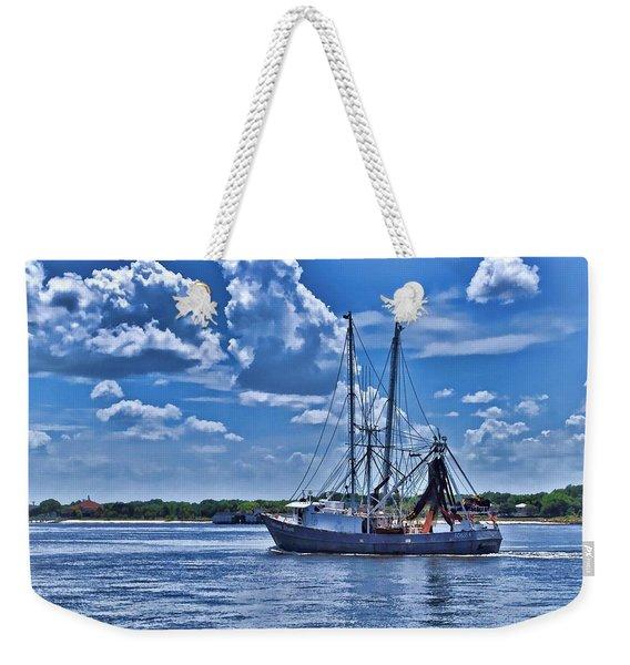 Shrimp Boat Heading To Sea Weekender Tote Bag
