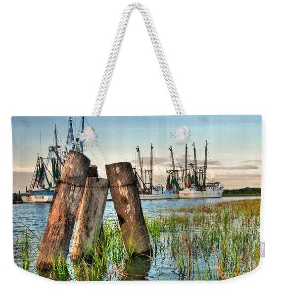 Shrimp Dock Pilings Weekender Tote Bag