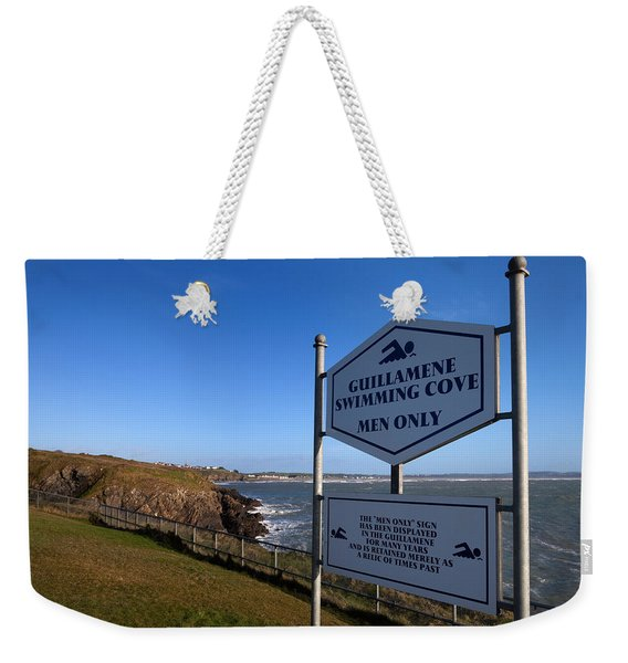 Sign At Guillamene Swimming Cove Weekender Tote Bag