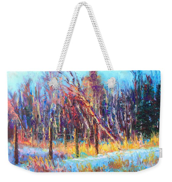 Weekender Tote Bag featuring the painting Signs Of Spring - Trees And Snow Kissed By Spring Light by Talya Johnson