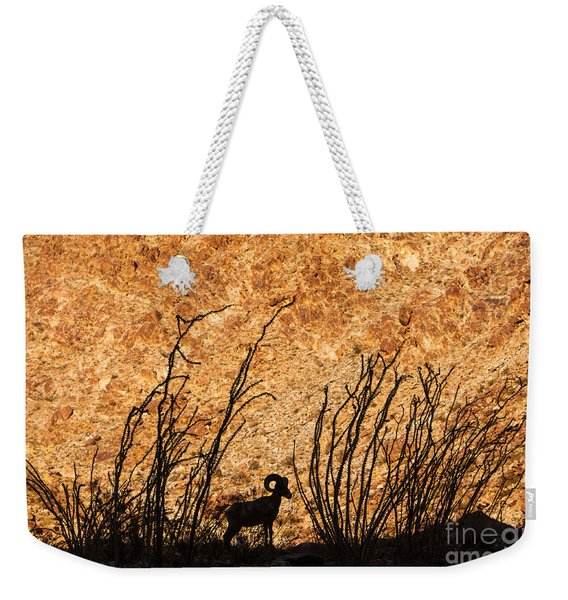 Weekender Tote Bag featuring the photograph Silhouette Bighorn Sheep by John Wadleigh