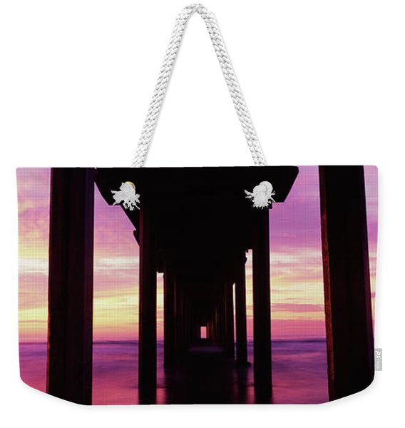 Silhouette Of A Pier In The Pacific Weekender Tote Bag