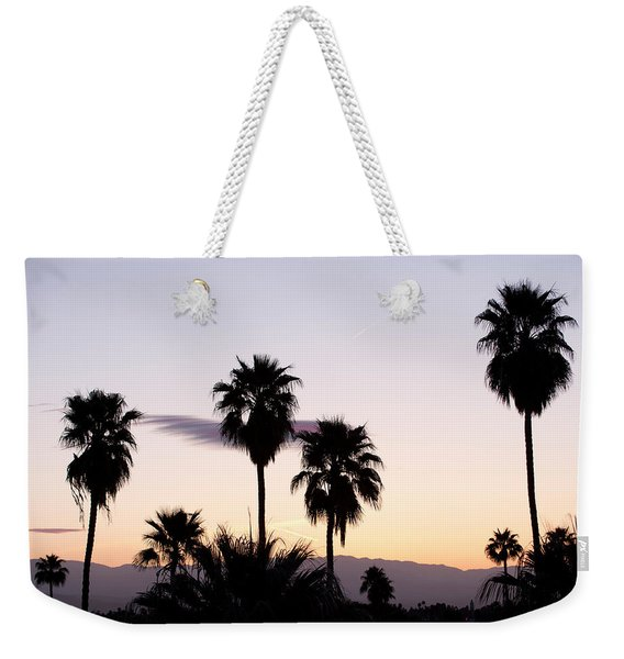 Silhouette Of Palm Trees At Dusk, Palm Weekender Tote Bag