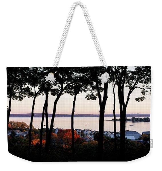 Silhouette Of Trees At Dusk, Little Weekender Tote Bag
