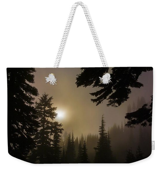 Silhouettes Of Trees On Mt Rainier II Weekender Tote Bag