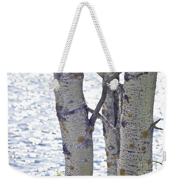 Silver Birch Trees At A Sunny Lake Weekender Tote Bag