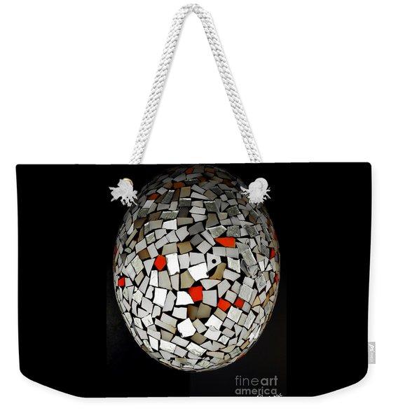 Weekender Tote Bag featuring the digital art Silver Egg by Eleni Mac Synodinos