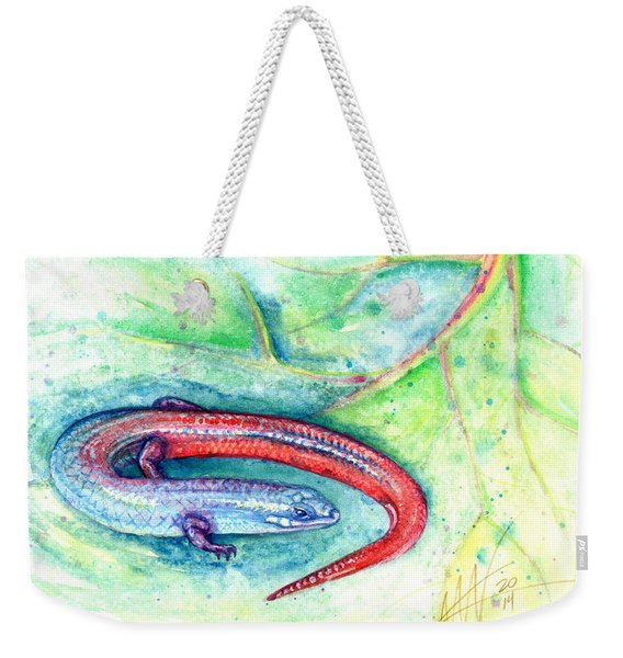 Weekender Tote Bag featuring the painting Simon by Ashley Kujan