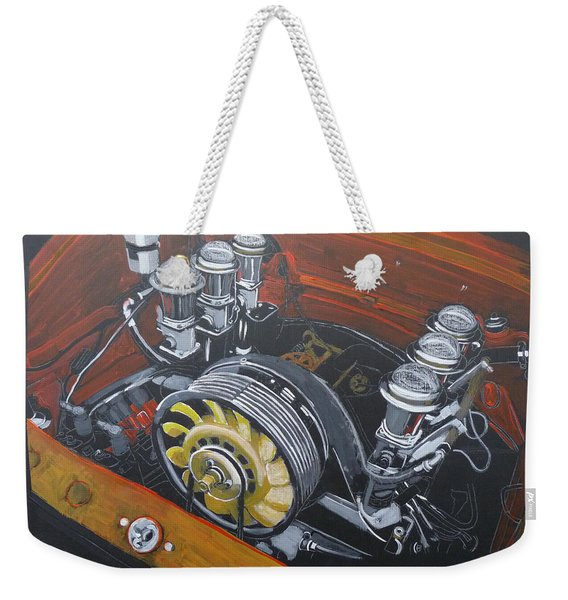 Weekender Tote Bag featuring the painting Singer Porsche Engine by Richard Le Page