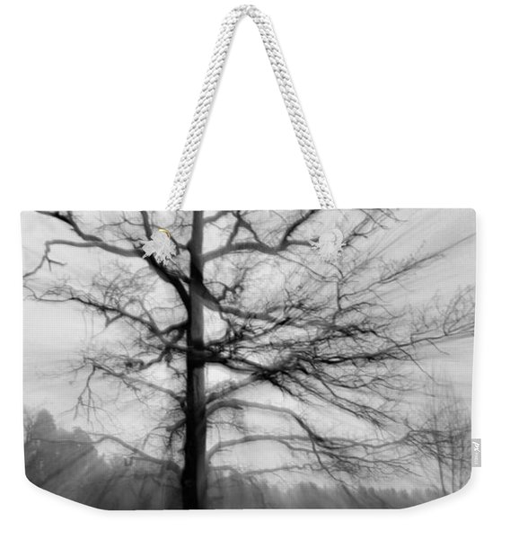 Single Leafless Tree In Winter Forest Weekender Tote Bag