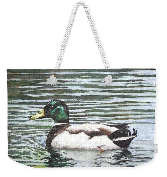 Single Mallard Duck In Water Weekender Tote Bag