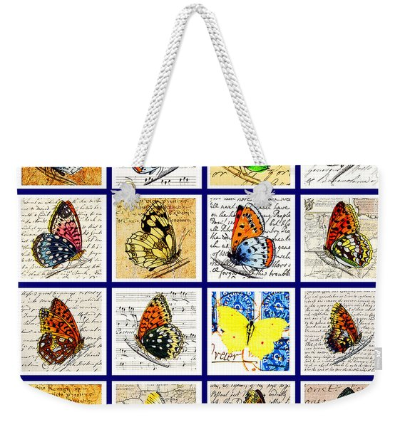 Weekender Tote Bag featuring the painting Sixteen Butterflies by Marian Cates