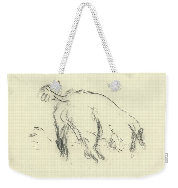 Sketch Of A Dog Digging A Hole Weekender Tote Bag