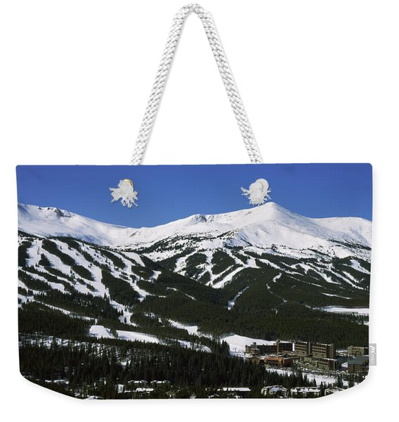 Ski Resorts In Front Of A Mountain Weekender Tote Bag