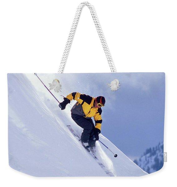 Skier On Powder Slope Weekender Tote Bag