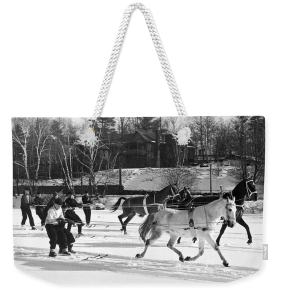Skijoring At Lake Placid Weekender Tote Bag