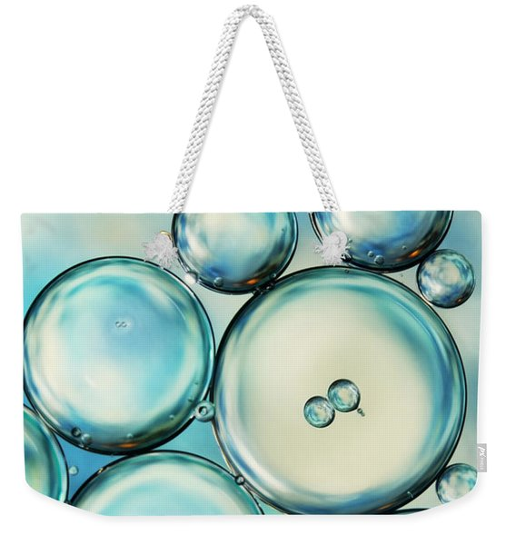 Sky Blue Bubble Abstract Weekender Tote Bag