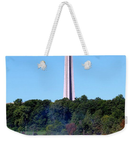 Weekender Tote Bag featuring the photograph Skylon Tower Niagara Falls by Jemmy Archer
