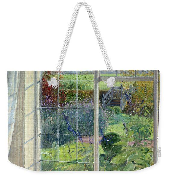 Sleeping Cat And Chinese Bridge Oil On Canvas Weekender Tote Bag