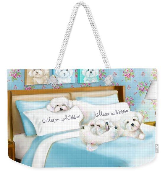 Sleeps With Maltese Weekender Tote Bag