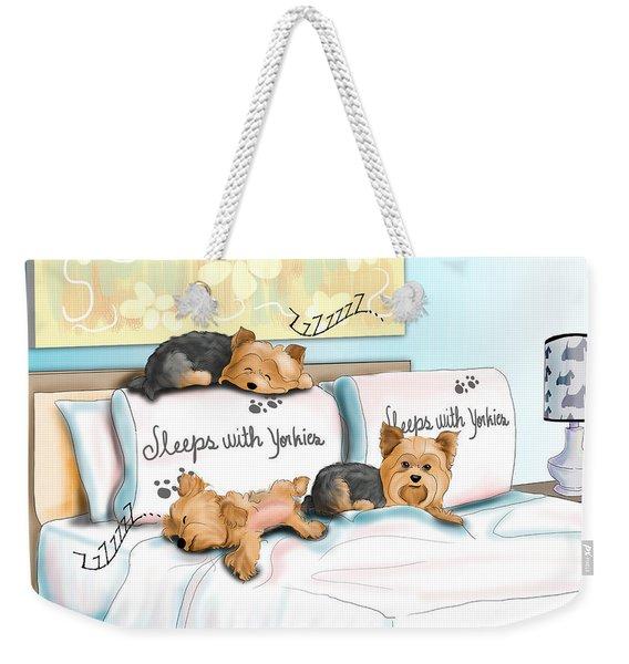 Sleeps With Yorkies Weekender Tote Bag