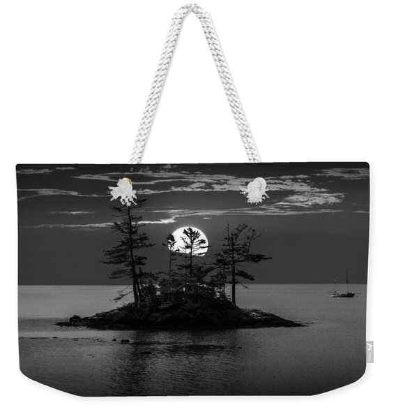 Small Island At Sunset In Black And White Weekender Tote Bag