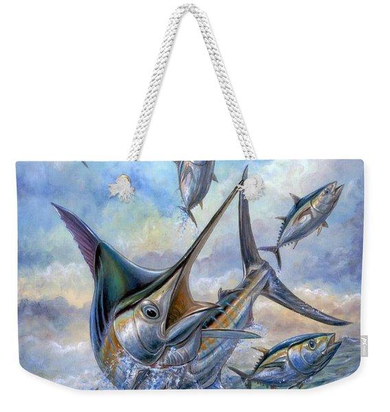 Small Tuna And Blue Marlin Jumping Weekender Tote Bag