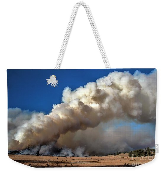 Smoke Column From The Norbeck Prescribed Fire. Weekender Tote Bag