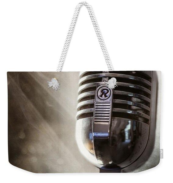 Smoky Vintage Microphone Weekender Tote Bag