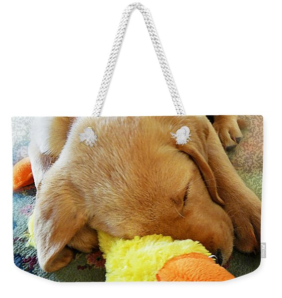 Snoozing With My Duck Fell Asleep On A Job Puppy Weekender Tote Bag