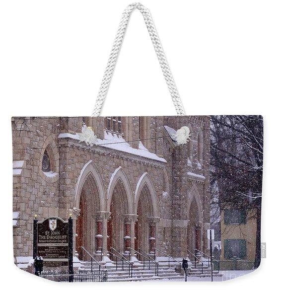 Snow At St. John's Weekender Tote Bag