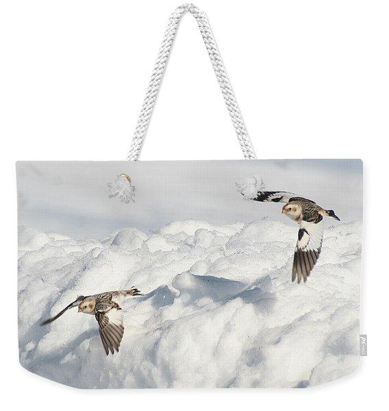 Snow Buntings In Flight Weekender Tote Bag