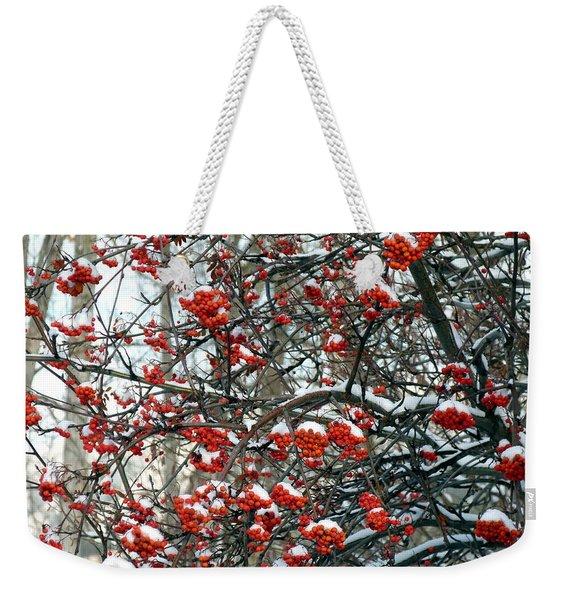 Snow- Capped Mountain Ash Berries Weekender Tote Bag