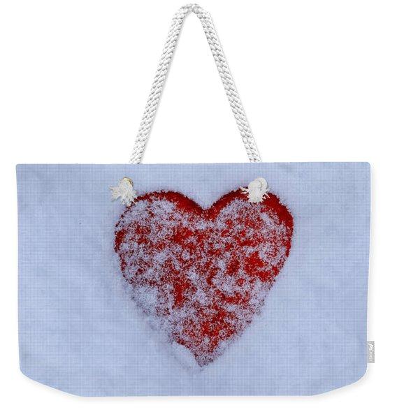Snow-covered Heart Weekender Tote Bag